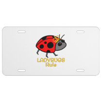 Ladybugs Rule Golden Crown License Plate
