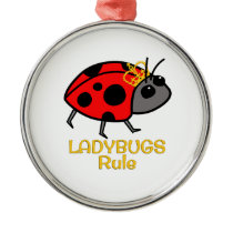 Ladybugs Rule Golden Crown Metal Ornament