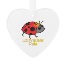 Ladybugs Rule Golden Crown Ornament