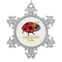 Ladybugs Rule Golden Crown Snowflake Pewter Christmas Ornament