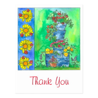Ladybugs Sunflowers Watercolor Flowers Thank You Postcard