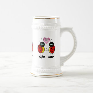 Ladybugs together holding hands in love beer stein