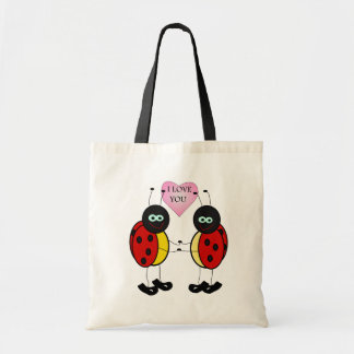 Ladybugs together holding hands in love tote bag