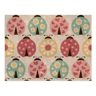 Ladybugs vintage girly  floral fun colorful chic postcard