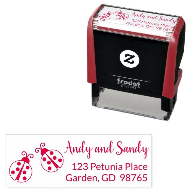 Ladybugs Wedding Return Address Stamp Self Inking