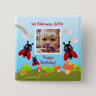 Ladybugs wishing happy birthday with photo pinback button