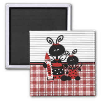 Ladybugs with Crayon Plaid Refrigerator Magnets