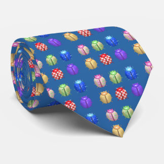Ladybugs with nice floral and blue background neck tie