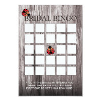Ladybugs Wood Background Bridal Shower Bingo Cards