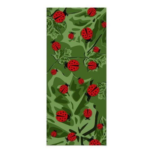 ladybugz. 4x9.25 paper invitation card