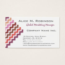 Lady's Chevron Pattern in Elegant Lipstick Reds Business Card