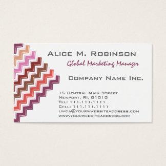 Lady's Chevron Pattern in Elegant Lipstick Reds Business Card