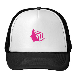 Lady's face silhouette in pink trucker hat