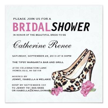 Hawaiian Themed Lady's Jaguar Stiletto Hibiscus Bridal Shower Card