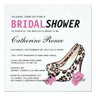 Lady's Jaguar Stiletto Hibiscus Bridal Shower Personalized Invitation