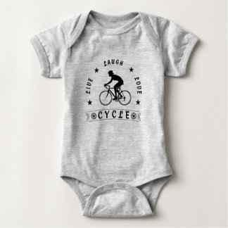 Lady's Live Laugh Love Cycle text (blk) Baby Bodysuit