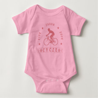 Lady's Live Laugh Love Cycle text (pink) Baby Bodysuit