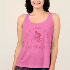 Lady's Live Laugh Love Cycle text (pink) Tank Top