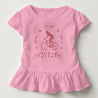 Lady's Live Laugh Love Cycle text (pink) Toddler T-shirt