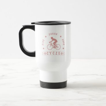 Beach Themed Lady's Live Laugh Love Cycle text (pink) Travel Mug