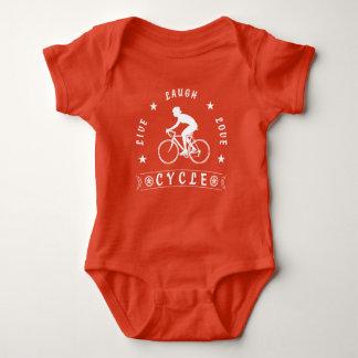 Lady's Live Laugh Love Cycle text (wht) Baby Bodysuit