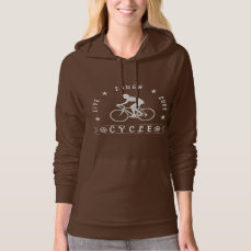 Lady's Live Laugh Love Cycle text (wht) Hoodie