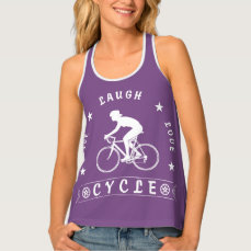 Lady's Live Laugh Love Cycle text (wht) Tank Top