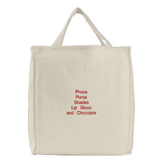 Lady's necessary items! embroidered tote bag