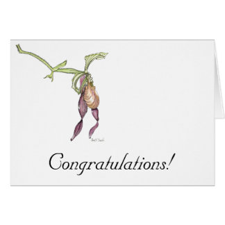 Lady's Slipper Orchid (Cypripedium) Congratulation Card