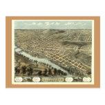 Lafayette ADENTRO, mapa panorámico antiguo 1868 Postal