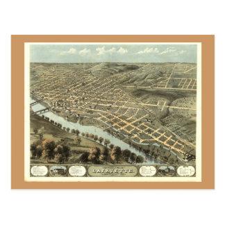 Lafayette ADENTRO, mapa panorámico antiguo 1868 Tarjeta Postal