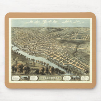 Lafayette IN, 1868 Antique Panoramic Map Mouse Pad