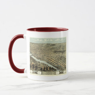 Lafayette IN, 1868 Antique Panoramic Map Mug
