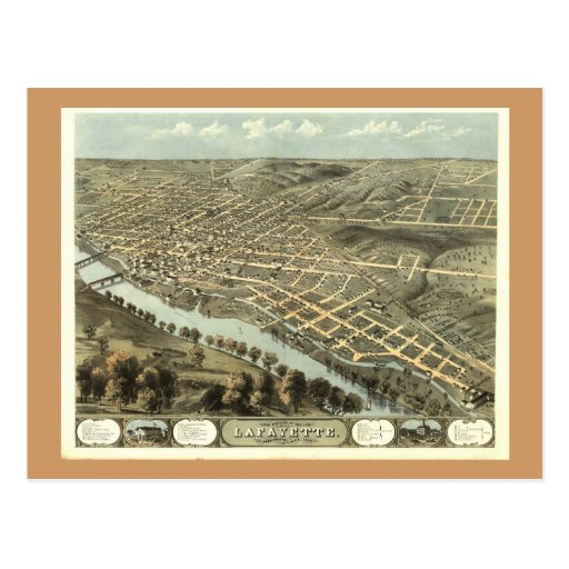 Lafayette IN, 1868 Antique Panoramic Map Postcard