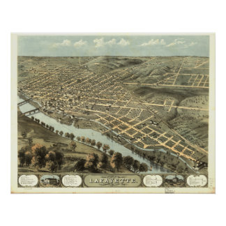Lafayette Indiana 1868 Antique Panoramic Map Poster