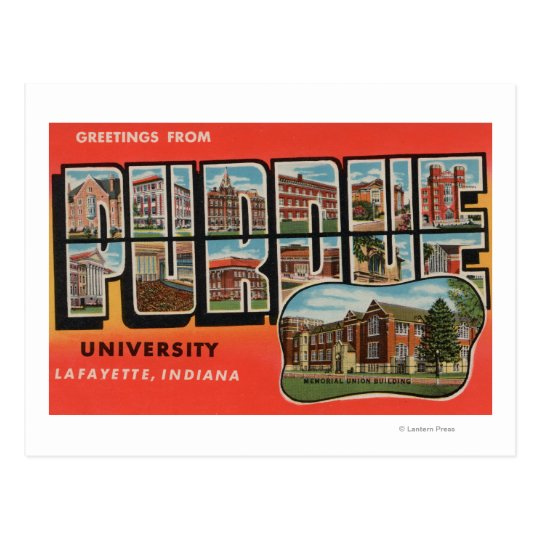 Lafayette, Indiana - Purdue University Postcard