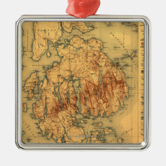 Lafayette National ParkPanoramic Map Metal Ornament