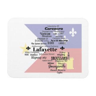 Lafayette Parish Places Magnet with Cajun Flag