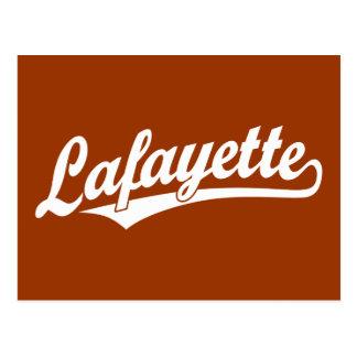 Lafayette script logo in white postcard