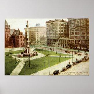 Lafayette Square Buffalo NY 1915 vintage print
