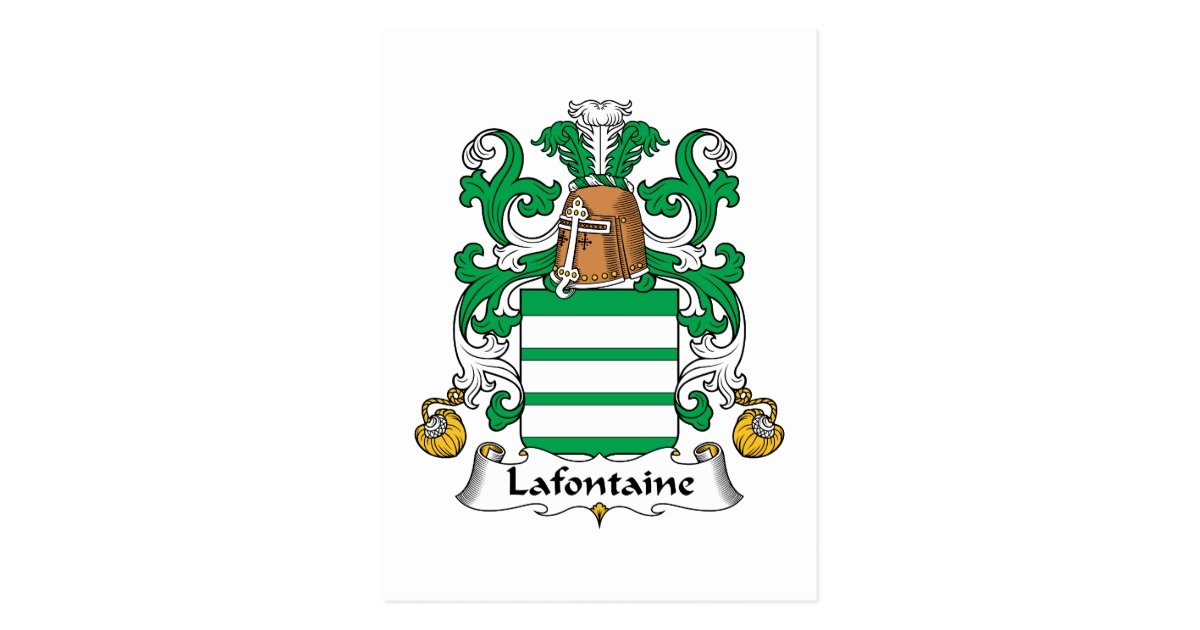 Lafontaine family crest postcard - La fontaine family office ...
