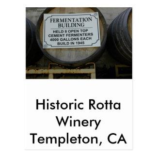 Lagar histórico de Rotta, Templeton, CA Tarjeta Postal