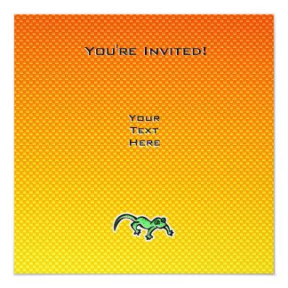 "Lagarto amarillo-naranja invitación 5.25"" x 5.25"""