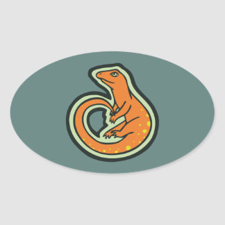 Lagarto anaranjado de la cola larga con los puntos pegatina ovalada