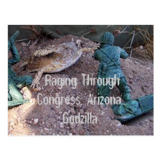 Lagarto de cuernos del desierto de Arizona en mi Tarjeta Postal