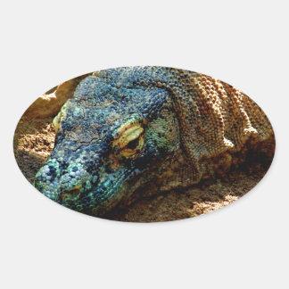 Lagarto de la iguana pegatina óval