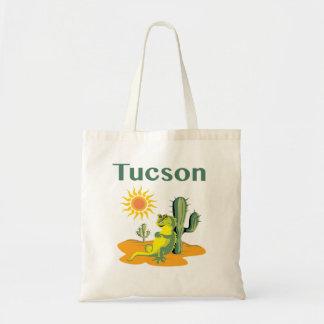 Lagarto de Tucson Arizona debajo del Saguaro Bolsa Tela Barata