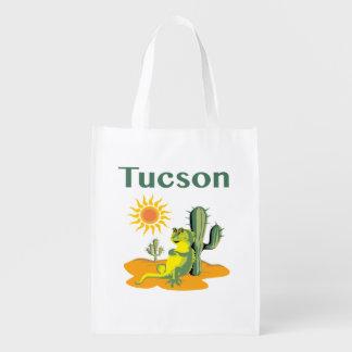 Lagarto de Tucson Arizona debajo del Saguaro Bolsas Reutilizables