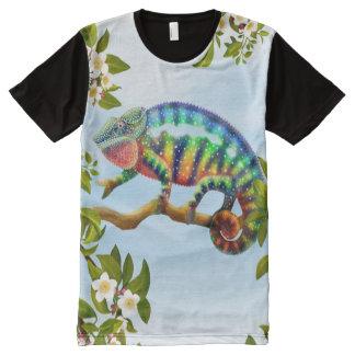 Lagarto del camaleón de la pantera en camiseta del playeras con estampado integral
