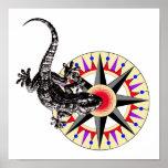 Lagarto del Gecko y rosa de compás Poster